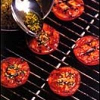 Garlic Grilled Tomatoes Recipe by Steven Raichlen. Make this once a week! In winter, roast in oven for 30 min. Can sub garlic powder, olive oil spray, grated parm, and dried thyme when needed.