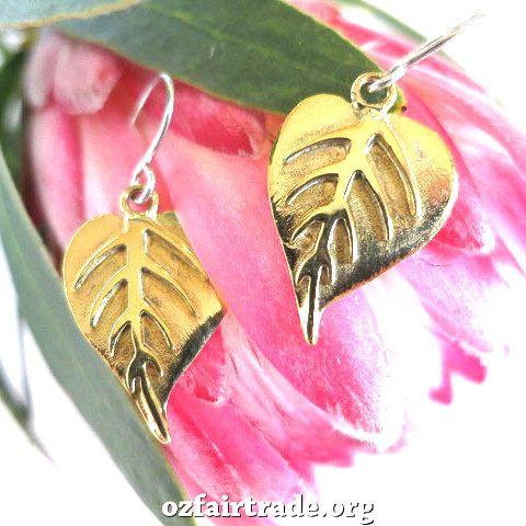 Oz Fair Trade - Golden leaf bombshell earrings, $44.95 (http://www.ozfairtrade.org/special-interests/vegan/golden-leaf-bombshell-earrings/)