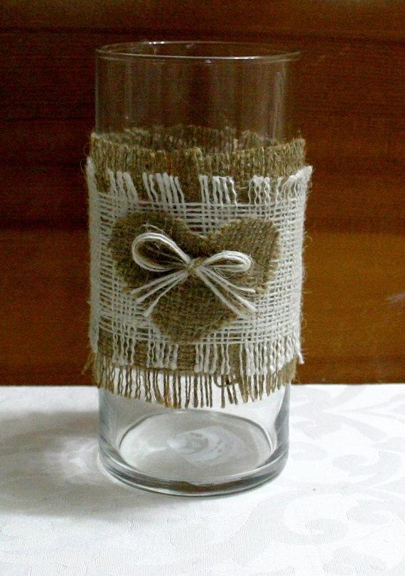 Burlap candle wrap