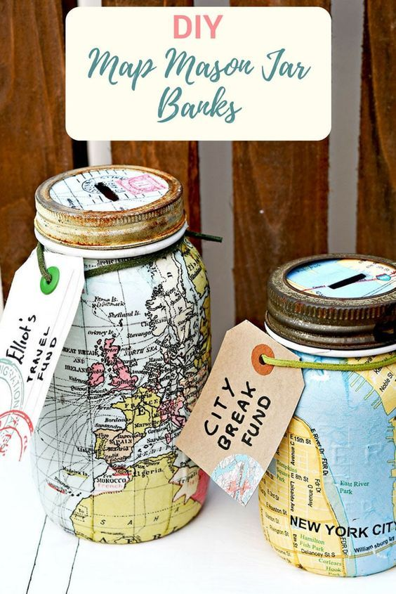 Make A Unique Map Mason Jar Bank For A Wonderful Gift