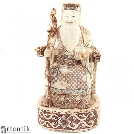 Statueta taoista - SHOU - os policromat - China cca. 1930  cadouri antichitati china