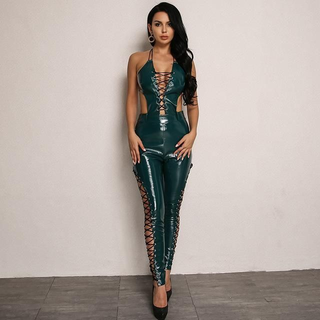 7619234882f Must Be The Money Lace Up Jumpsuit