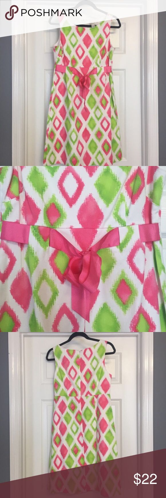 """Pink and green fit and flare dress size 10 Wonderful bright pink and green dress by Kim Rogers in size 10. I would describe this as a fit and flare style. Back zipper and clasp closure. Thick pink accent ribbon tie. Total length 37"""" chest 36"""" EUC Kim Rogers Dresses Midi"""