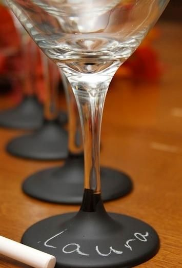 Stemmed wine glass has a CHALKBOARD painted base so you can label with guests names. Great for parties involving activities so you can put your drink down and come back later without losing track of whose is whose.