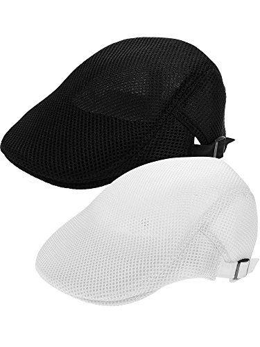 Jovitec 2 Pack Men Hat Breathable Mesh Summer Hat Flat Cap... amazon ... dbaf59bd5ee