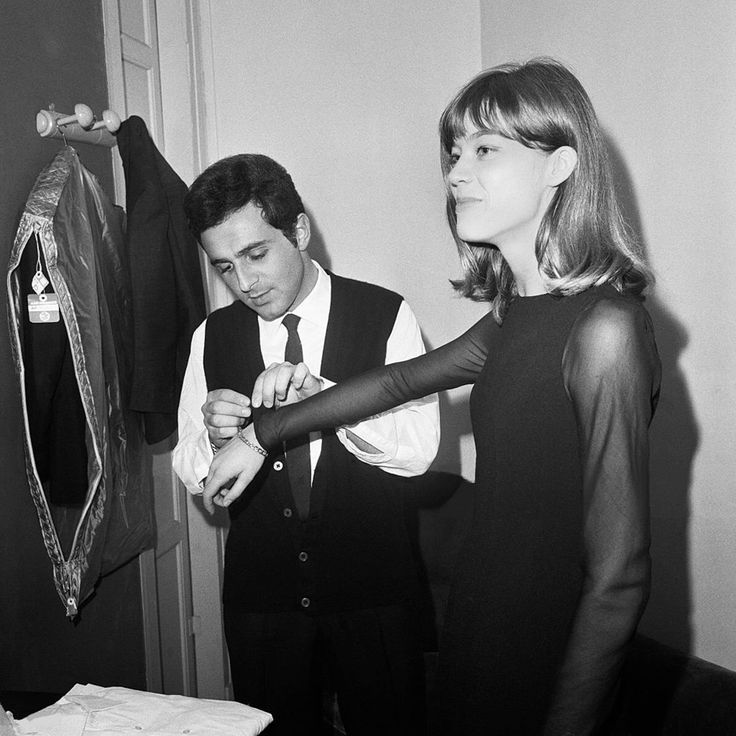 Richard Antony in his dressing room with Françoise Hardy at the Olympia music hall. Photo by Pierre Fournier.
