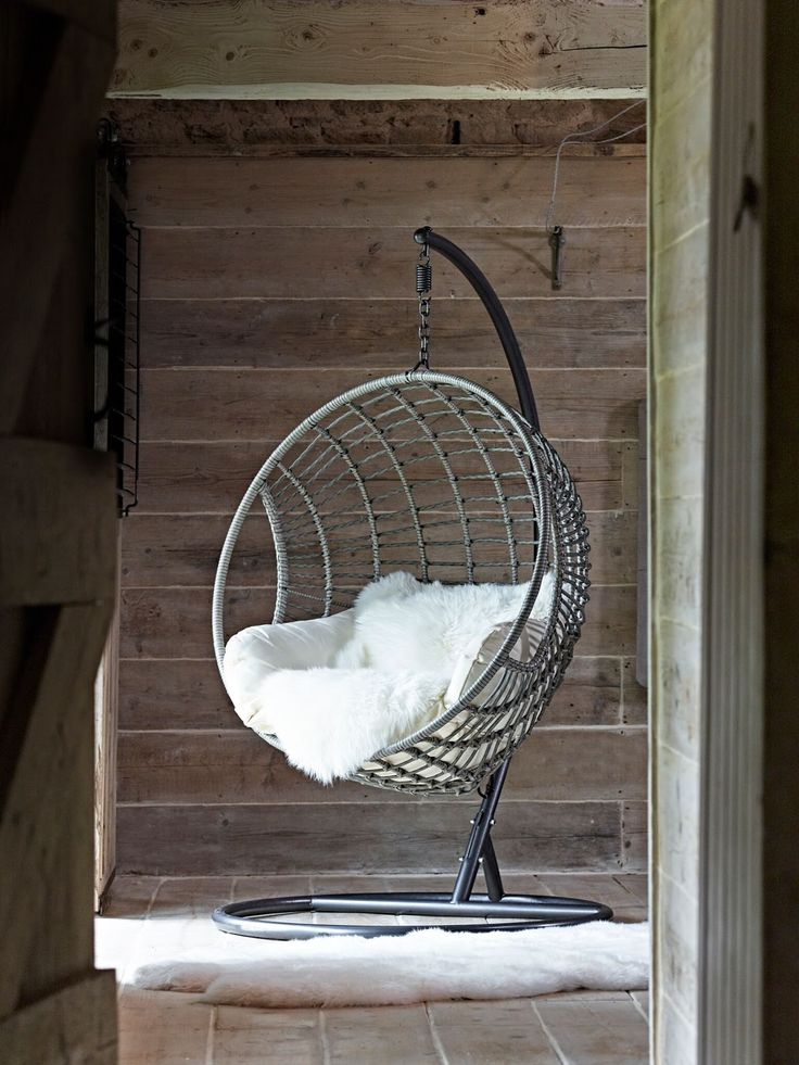 Scandi style hanging chair by Cox & Cox. Hygge trend. Scandi interiors.
