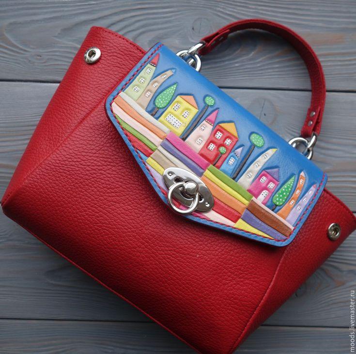 Leather bag | Купить Женская кожаная сумка с тиснением - ярко-красный, сумка с рисунком, сумка с декором
