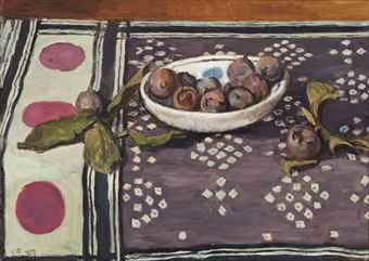 Vanessa Bell (England 1879-1961) Still-Life with a Bowl of Figs, oil/canvas, 1953. Sold Christie's 2015.