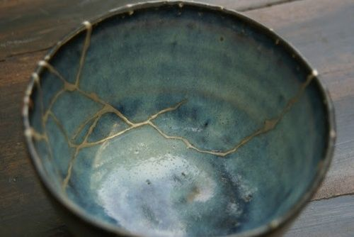 "Kintsugi (金継ぎ), meaning ""golden joinery,"" is the Japanese art of repairing broken pottery using gold. It restores functionality to a broken vessel, and not only adds beauty and worth, it turns destruction and damage into the most valuable part of the piece. The scars of the past are not erased, they are transformed, immortalized in gold."