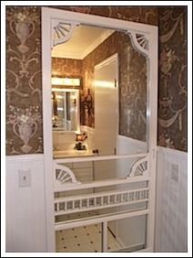 Screen Door Full-Length Mirror | A flea market find, sanded with a fresh coat of paint on both sides; a glass company cut a mirror to the right size and mounted on the back.  Waa-laa! | http://www.decorating-ideas-made-easy.com/cottage-style-decorating-ideas.html#