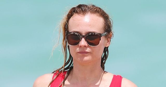 Diane Kruger was spotted in Miami wearing a red swimsuit that could have come straight from Baywatch.