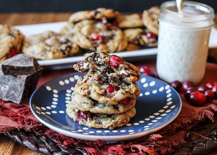 Double Cranberry Chocolate Chunk Cookies Recipe Desserts with butter, white sugar, light brown sugar, eggs, vanilla, all-purpose flour, baking soda, salt, nutmeg, dark chocolate, dried cranberries, fresh cranberries, salt