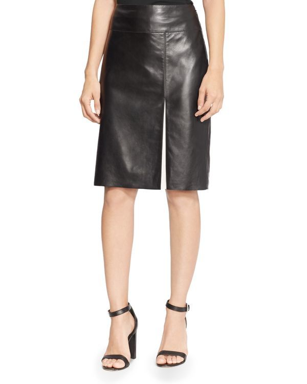 Lauren Ralph Lauren Leather Slit Pencil Skirt