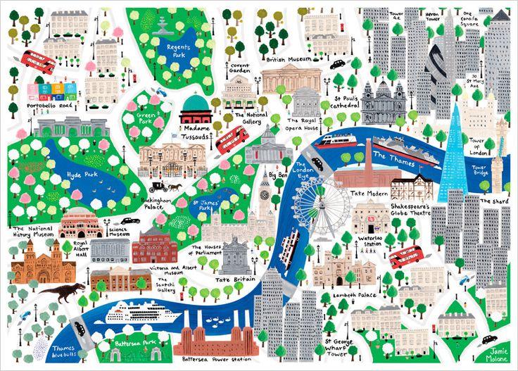 Affiche Carte de Londres illustrée pour Enfants de Jamie Malone