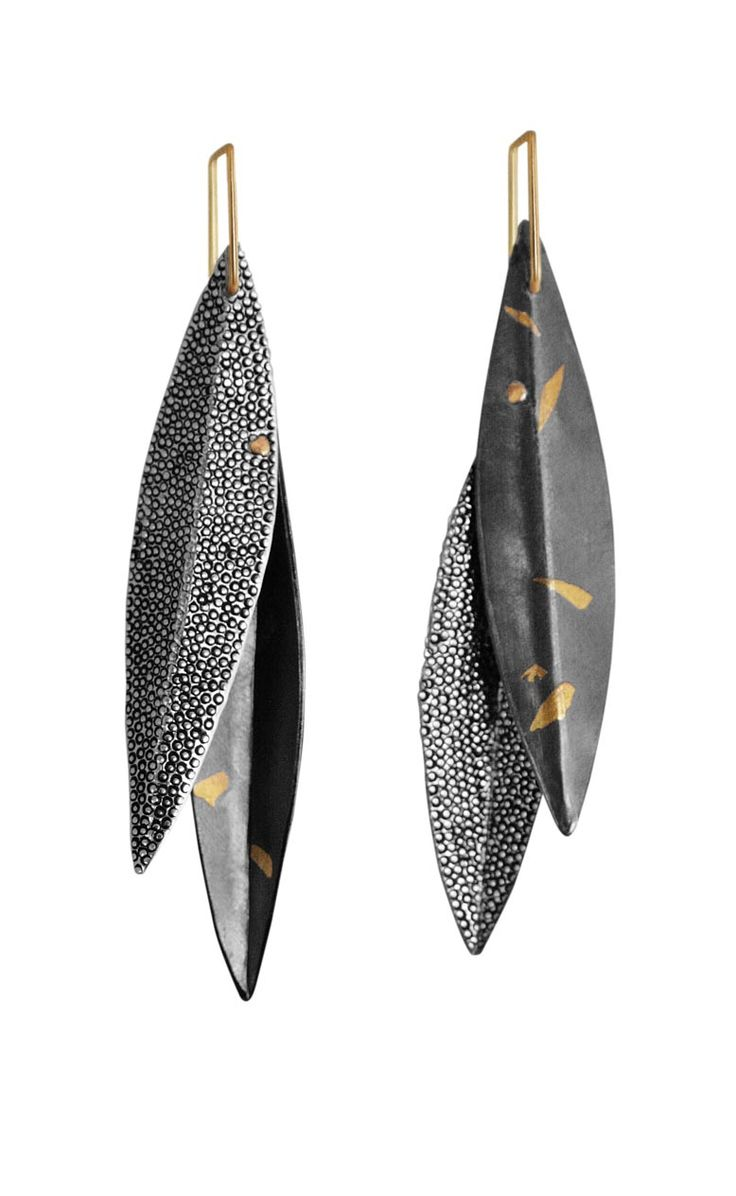 "Anne Bulmer Brewer Studio, ""Leaves, Leaves!"" Earrings Fine Silver, 22K Gold, 14K Rivets, 14K Keum Boo, Nanako-Hori, Forming, Fabrication, Patina"