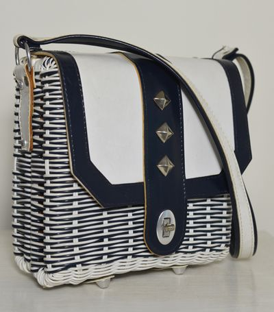 Vintage Wicker Woven Bag Handbag Purse Navy Blue White Studs. Mod Retro 60s
