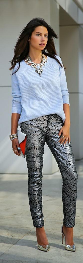 PARTY PANTS - SILVER & SPARKLE   http://vivaluxury.blogspot.com/2013/12/party-pants-silver-sparkle.html