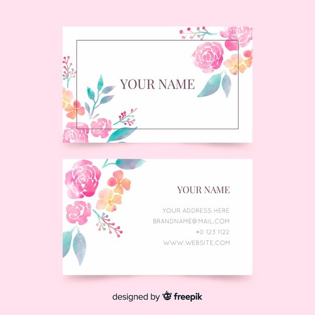 Business Card Template With Flowers Free Free Vector Freepik Freevector Bu Free Business Card Design Business Cards Creative Business Card Design Black