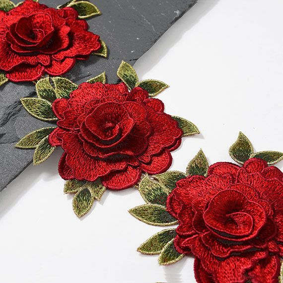 5 Embroidered Rose Flower Lace Trim by 1 Yard TR-11252