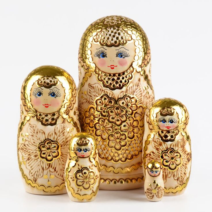 Golden Flowers Matryoshka www.therussianstore.com
