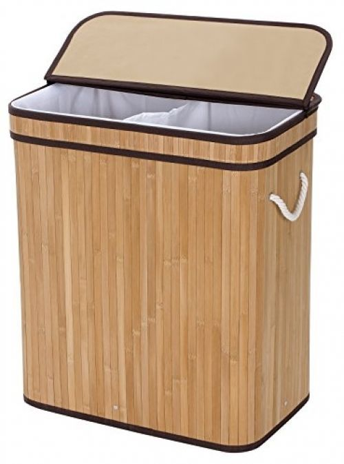 Bamboo Laundry Basket Double Hamper Two-section Clothes Storage Rectangular #Generic