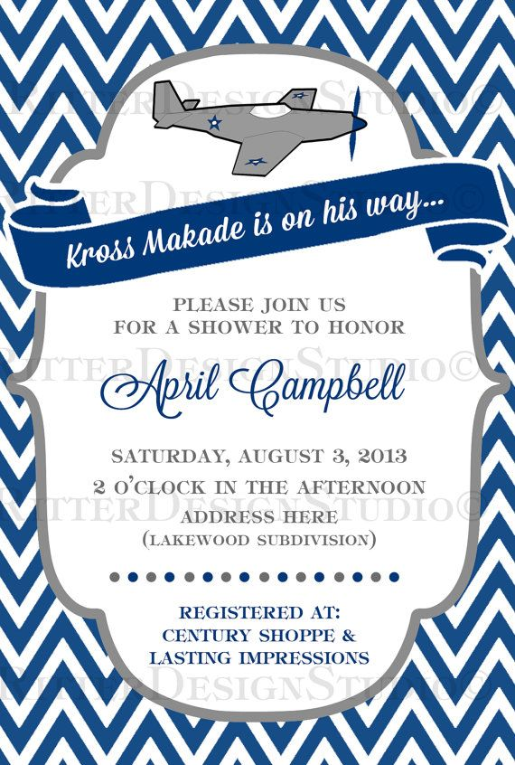 Elegant Airplane Baby Shower Invitation Navy Grey Chevron   Printable