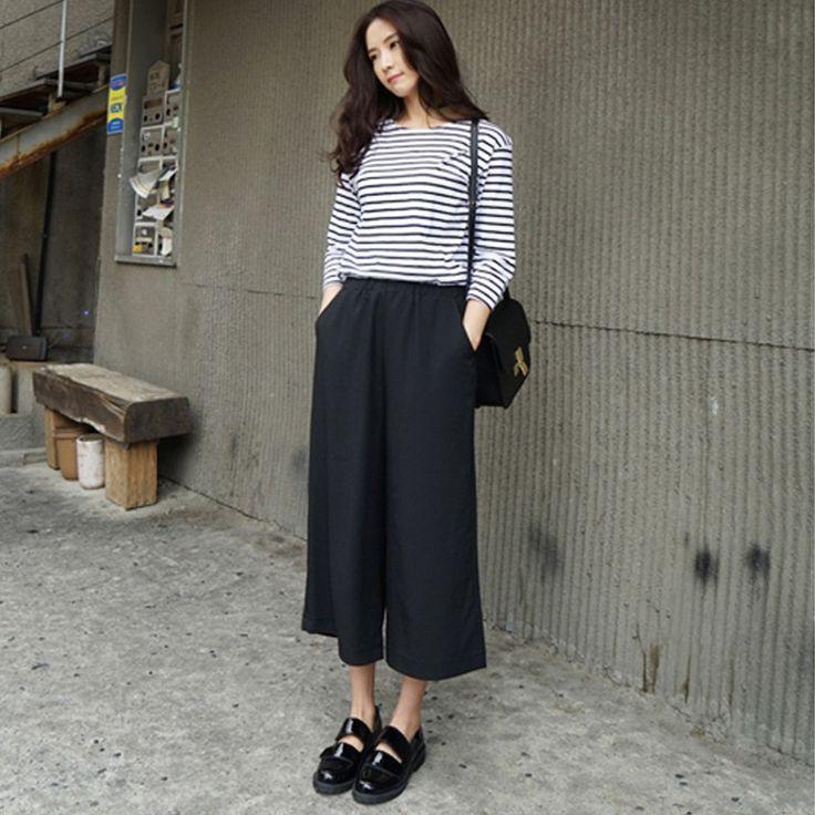 2016 Women Black Wide Leg Chiffon Harem palazzo Pants Plus Size Trousers pantalones Elastic Waist Capris pantalon femme B57301