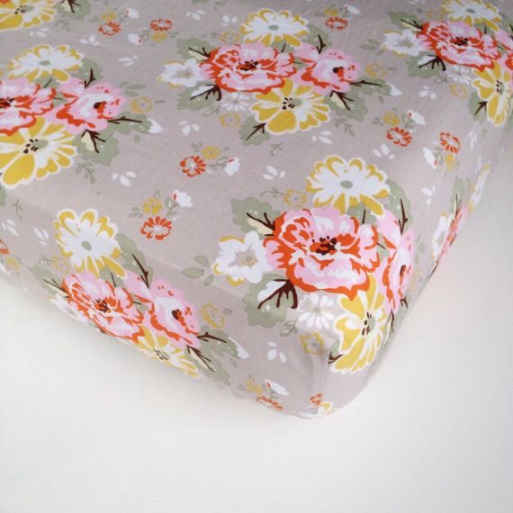Baby Girls Bedding - Wiltshire Daisy Gray Crib Sheet - Standard or Mini Sheet - Changing Pad Cover / Floral Crib Sheet / Fitted Baby Sheet #wiltshiredaisy #carinagardner #rileyblakedesigns