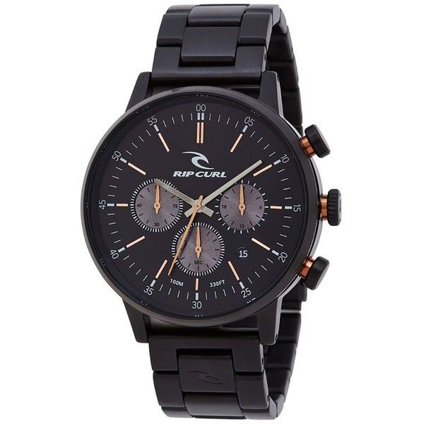 Rip Curl Drake Chrono Midnight SSS Watch ($162) ❤ liked on Polyvore featuring men's fashion, men's jewelry, men's watches, mens stainless steel watches, mens chronograph watches and mens leather strap watches
