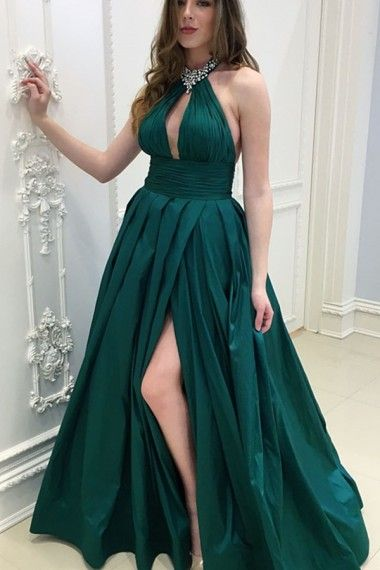 263c94ff582d Dark Green Satin Keyhole Prom Dresses Long A-line Evening Formal Dress  Beaded Halter High Slit Party Graduation Dresses for Women #prom  #promdresses ...