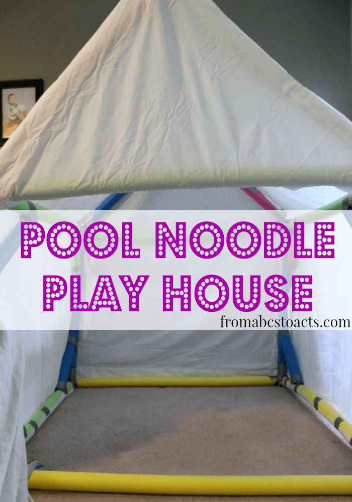Super clever way to make an indoor fort out of pool noodles! Perfect kids activity for a rainy day! #kidsactivities #rainydayfun