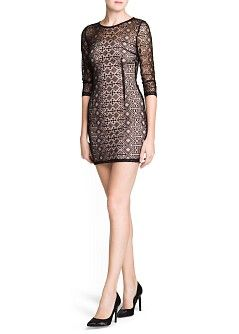 MANGO - KLEDING - Jurken - CocktailandParty - Mesh jurk met etnische borduursels