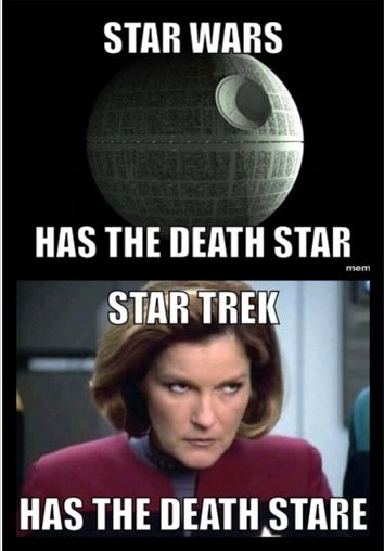 Death Star v Death Stare. Lemme tell you, you make this woman mad, and even the Death Star cannot save you.