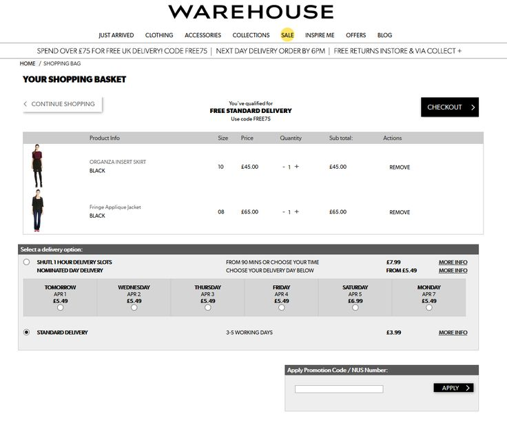 #shopcart #UI #cart Delivery option www.warehouse.co.uk