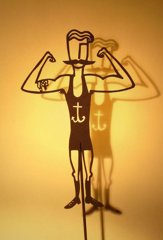 Paper-cut Shadow Puppet - Circus Strongman