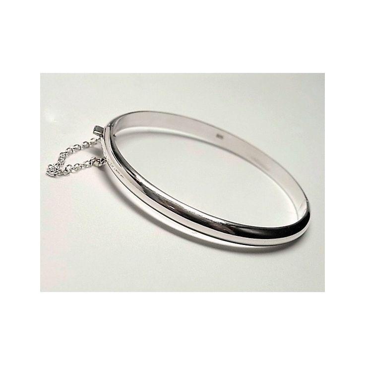 Pulsera de plata de primera ley lisa estilo brazalete de media caña de 5 mm de ancho para niña de 5,5 cm de diámetro