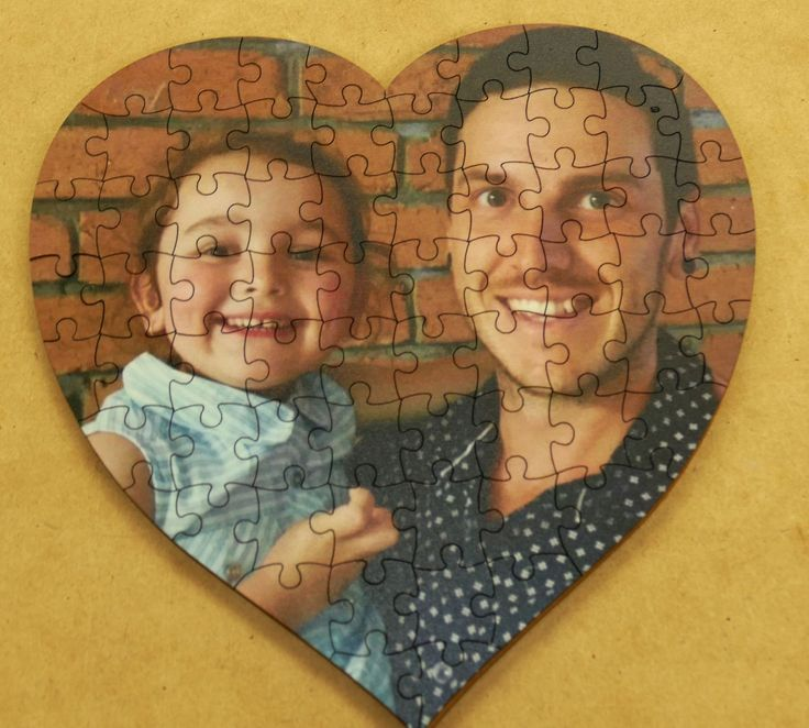 Heart Jigsaw printed timber with your photo and optional message