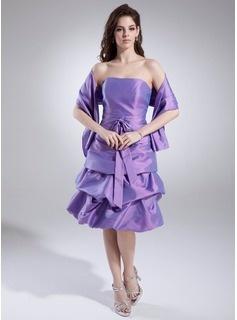 Robes de Soirée  de Mariage Ligne-A/Princesse Sans bretelles Longeur à mi jambe Tafetta Robes de Demoiselle d'Honneur avec Bretelle (007000985)