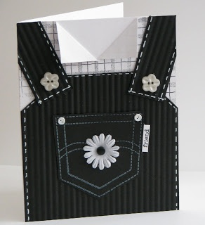 """handmade card ... shaped like coveralls ... black and white ... luv the details that make it """"real"""" ..."""