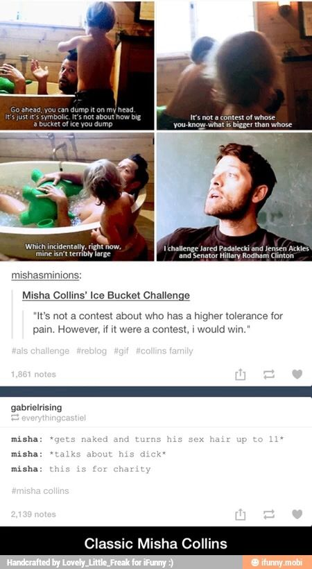 Misha Collins on the ice-bucket challenge. Too classic!!