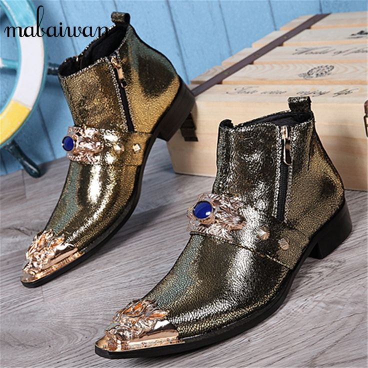 98.00$  Watch now - http://aliw0d.shopchina.info/go.php?t=32701885302 - New Gold Men Genuine Leather Metal Tip Pointed Toe Mens Dress Ankle Boots Vintage Cowboy Knight Martin Boots Botas Hombre 98.00$ #shopstyle