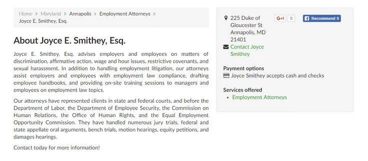 Trust over 17 years of Employment & Labor Law experience https://www.fixr.com/sp.joyce-e-smithey-esq.html