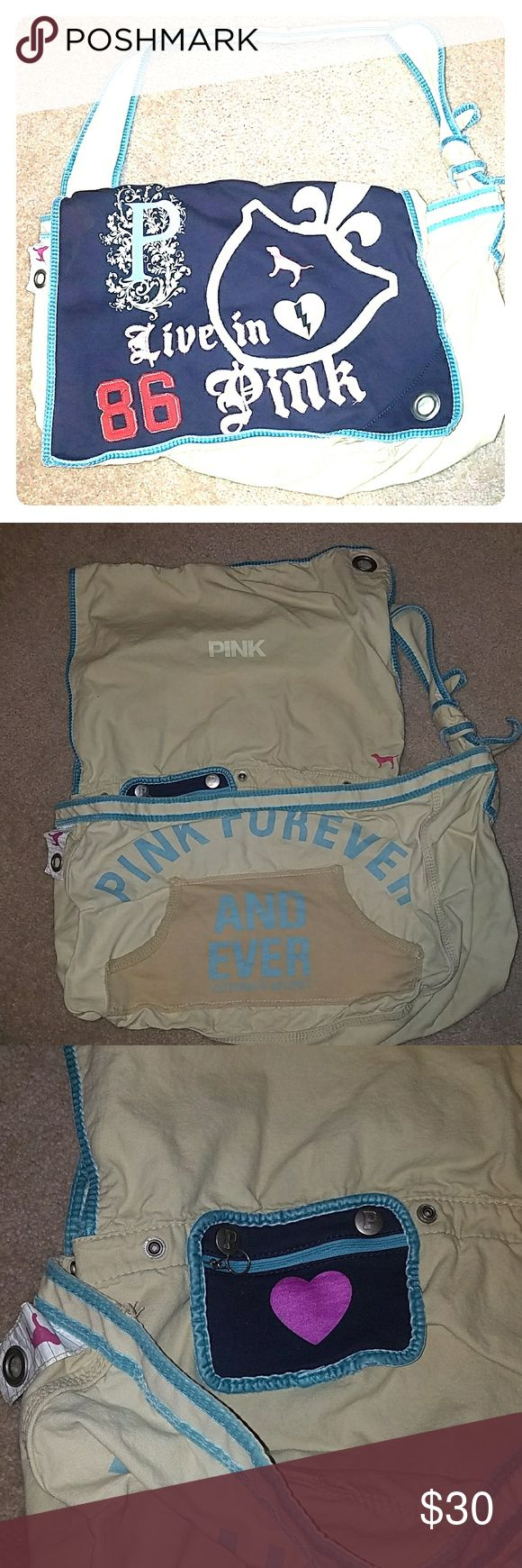 Extra Large Victoria's Secret PINK Messenger Bag Great condition for age. Very few thread pulls. It does have one stain that appears to be a curling iron burn.  Wears well. Feels good. This is an original PINK line bag.  Because of its size it is hard to find.  It's a heavy canvas with lots of pockets. 🖤 PINK Bags Crossbody Bags