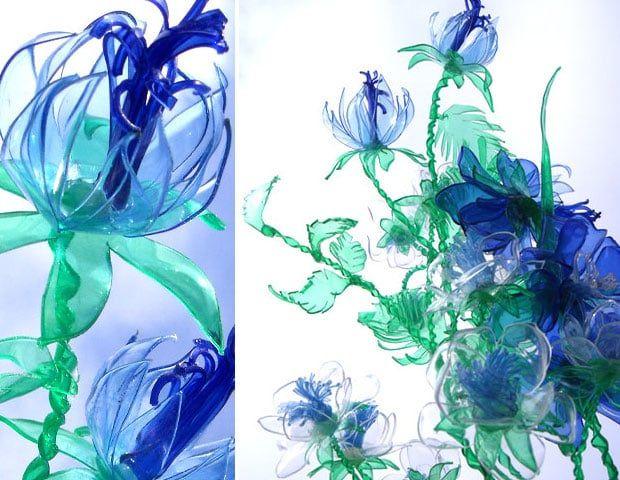 Splendidi fiori di plastica riciclata, dalle forme sinuose ed eleganti, realizzati con il pet recuperato dalle bottiglie di plastica.
