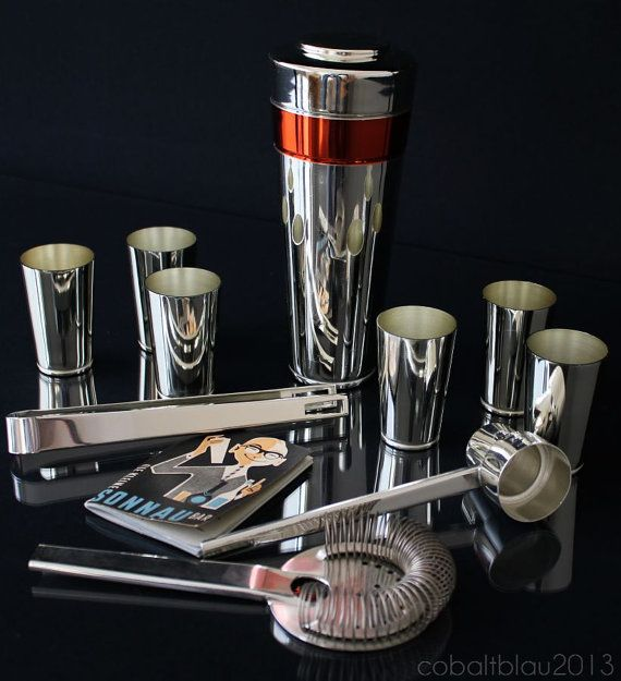 Great Vintage Barware: Bar Set, 50s 60s, Cocktail Shaker U0026 6 Cups. Space