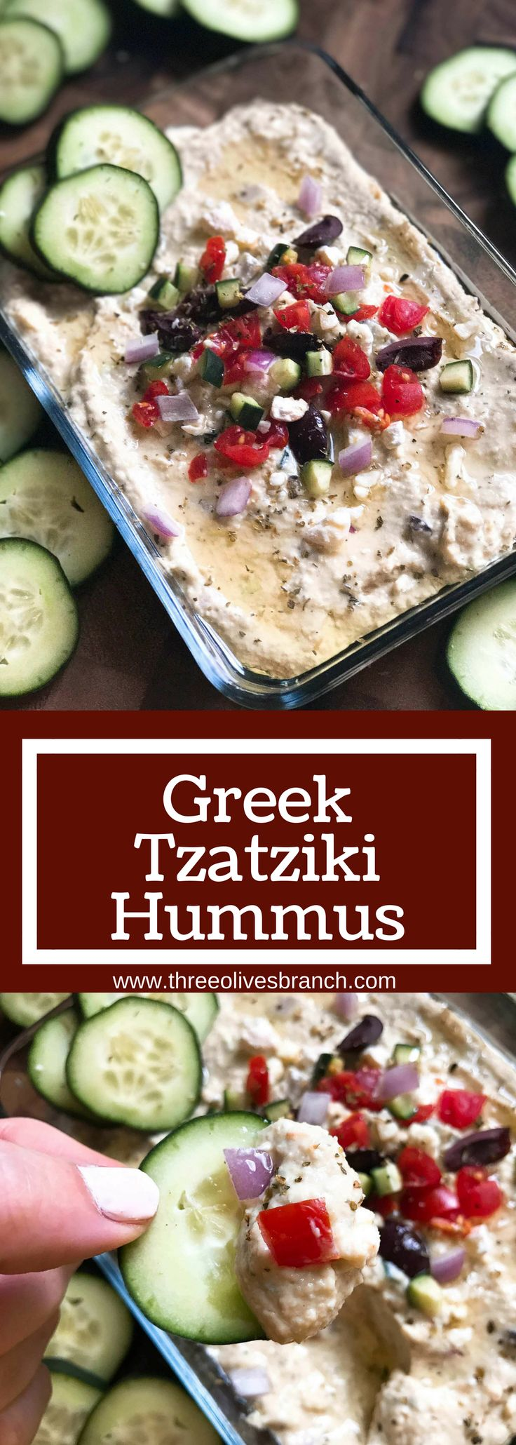 Less than 5 minutes to make this delicious and healthy hummus! Perfect as an appetizer, snack, or spread, the flavors of tzatziki and Greek salad are bright and fresh. Full of protein, vegetarian and vegan friendly. Perfect for game day! Greek Tzatziki Hummus | Three Olives Branch | www.threeolivesbranch.com
