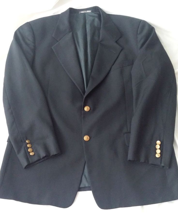 Valentino Uomo Men's Sport Jacket Black Blazer Gold Buttons Italy Virgin Wool #ValentinoUomo #TwoButton
