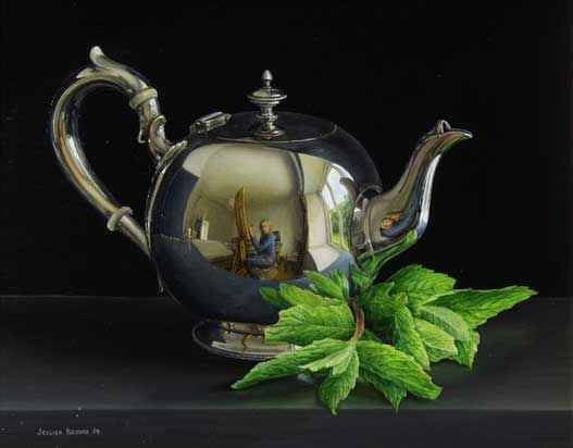 Still life with Silver Teapot and Mint
