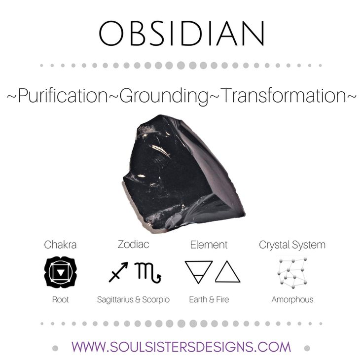 Metaphysical Healing Properties of Obsidian, including associated Chakra, Zodiac and Element, along with Crystal System/Lattice to assist you in setting up a Crystal Grid. Go to https:/stoulsistersdesigns.com to learn more!
